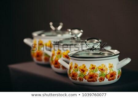lábas · ezüst · izolált · fehér · üveg · étel - stock fotó © hofmeester