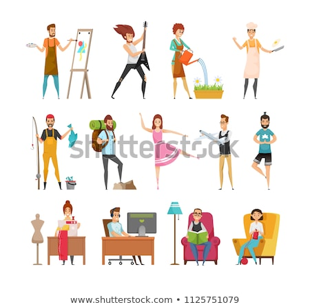 Hobby Cook or Yoga, Tourism Occupation Vector Stock photo © robuart