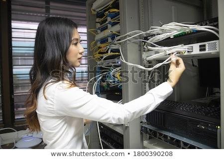 Kabel komputerowy kabel czarny moc tech drutu Zdjęcia stock © FOKA