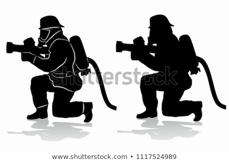 Firefighter Silhouette Icon Outline Illustration Stock photo © pikepicture
