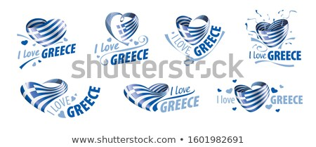 The national flag of the Greece and the inscription I love Greece. Vector illustration Stock photo © butenkow
