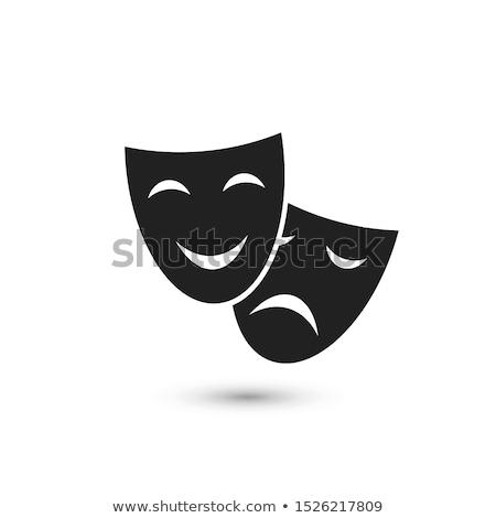 Szczęśliwy smutne dramat maska sylwetka proste Zdjęcia stock © evgeny89