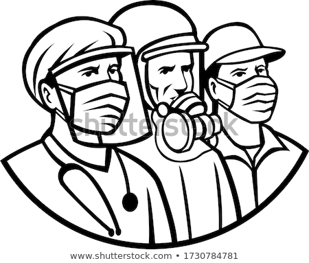 Essential Workers Wearing Mask as Heroes Black and White Retro Stock photo © patrimonio
