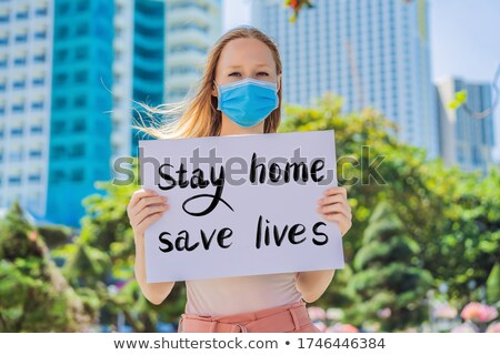 Stay Home Save Lives Hand written text - lettering isolated on white. Coronovirus COVID 19 concept Stock photo © galitskaya