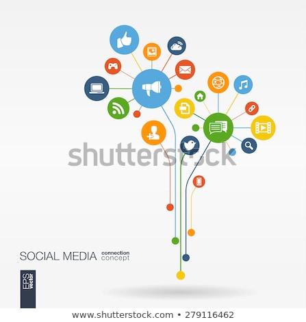 Közösségi média hálózat fa kapcsolat számítógép internet Stock fotó © cienpies
