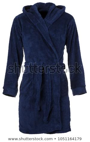 Kék köntös gyönyörű magas barna hajú lány Stock fotó © disorderly