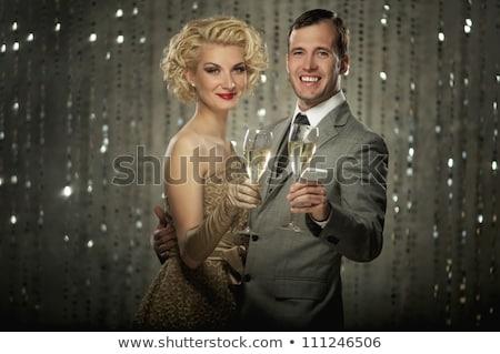 Foto stock: Atraente · casal · festa · retro · celebração · data