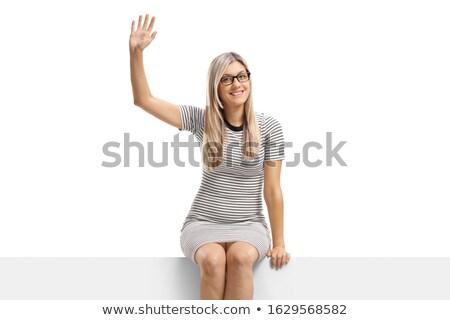 blond · vrouw · billboard · ovaal · geïsoleerd - stockfoto © smithore
