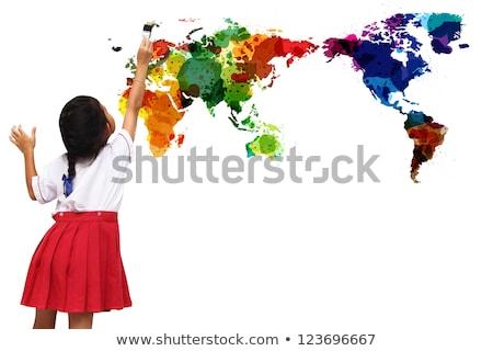 студентов · классе · карта · Мир · стены · студент - Сток-фото © photography33