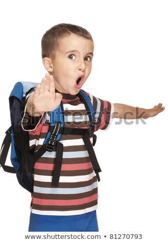 Little boy with backpack pretends kung-fu Stock photo © pekour