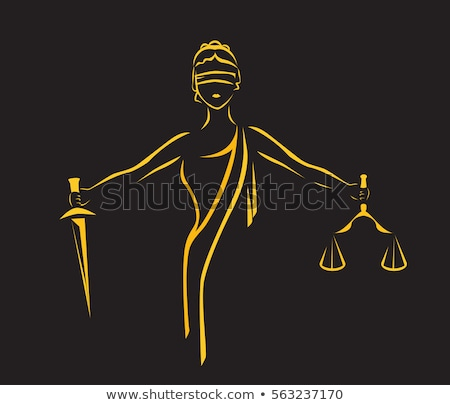 Blindfold lawyer with golden scale of justice Stock photo © erierika