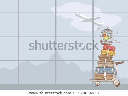 Gepäck Flughafen Warenkorb niemand horizontal Stock foto © alex_l