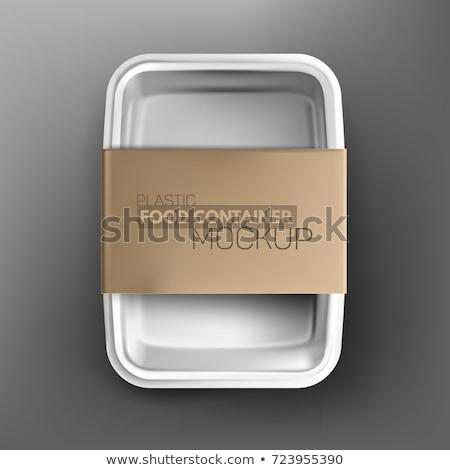 Vassoio etichette isolato bianco carta blu Foto d'archivio © kitch