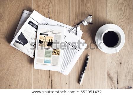 Dagelijks nieuws computermuis krant rollen witte Stockfoto © devon
