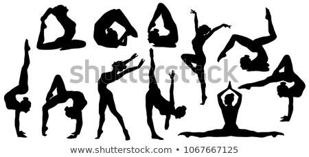 Jimnastik siluetleri ayarlamak kadın spor arka plan Stok fotoğraf © Kaludov