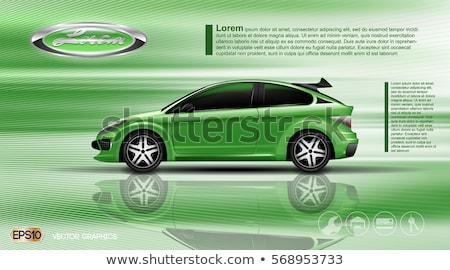 Two green cars sedan on the road. Vector illustration Stock photo © leonido