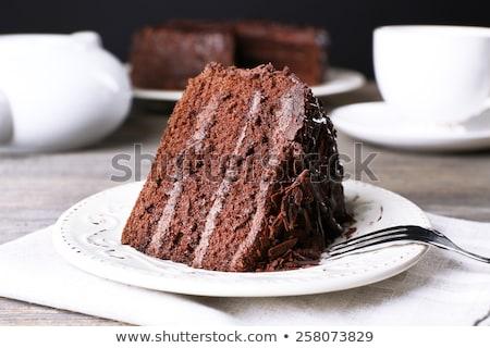 Stock fotó: Csokoládés · sütemény · villa · csésze · kávé · fehér · étel