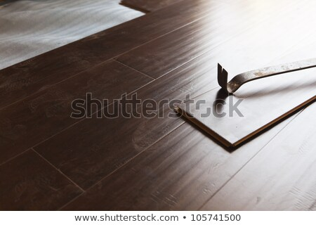 Stock photo: Hammer and Pry Bar with Laminate Flooring Abstract