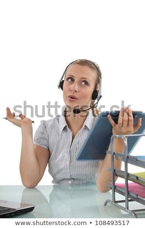 Blond recepcjonista schowek kobieta biuro uśmiech Zdjęcia stock © photography33