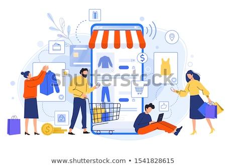 Online alkalmi vétel vásárló érett nő vásárlás izolált Stock fotó © lisafx