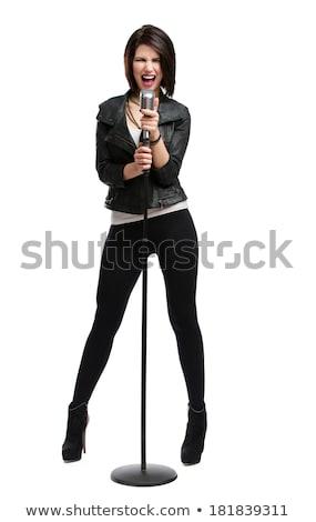 Bastante nina cantante blanco mano feliz Foto stock © photography33