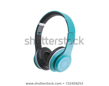 Stockfoto: Blauw · hoofdtelefoon · geïsoleerd · witte · telefoon · club