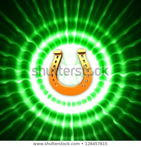 golden horseshoe and shamrock in green circles with rays Stock photo © marinini