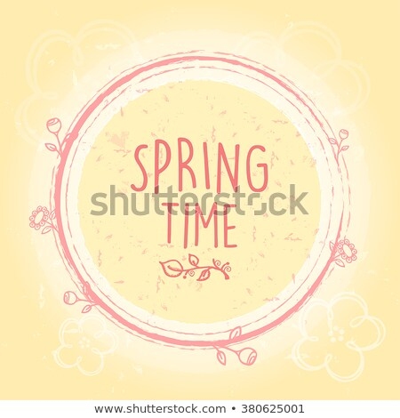spring daisy flowers over beige old paper background with circle Stock photo © marinini