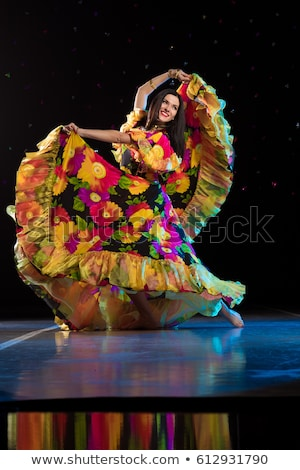 db9f1e3a4 Young romany woman dance in spanish traditional clothes stock photo ...