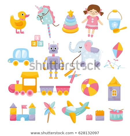 cartoon baby toys items collection stock photo © balasoiu