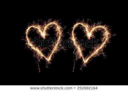 twee · harten · sterretje · liefde · oranje · teken - stockfoto © Paha_L