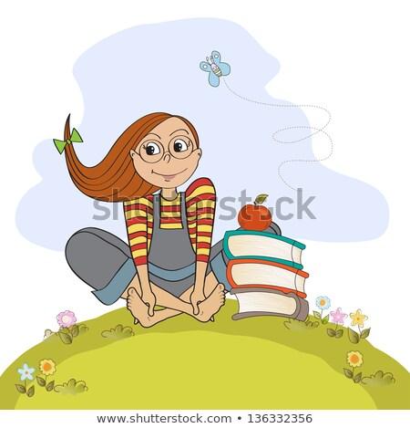 kız · oturma · yalınayak · çim · kadın · kitap - stok fotoğraf © balasoiu