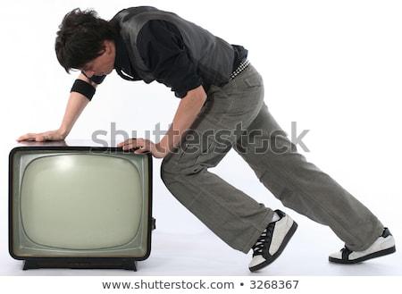 男 古い テレビ 白 顔 テレビ ストックフォト © Discovod