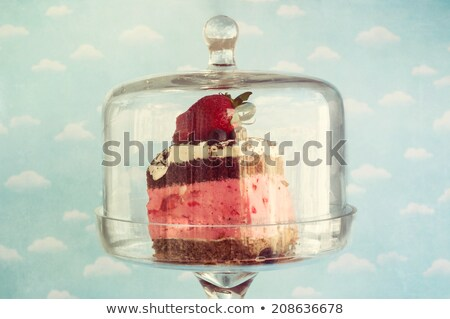 cheesecake glass bell and cup of coffee stock photo © doupix