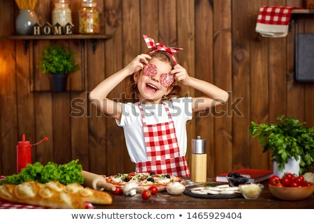 child preparing pizza stock photo © lightsource