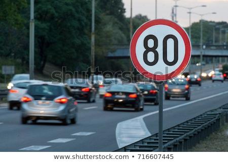 Stock fotó: Száguld · korlát · fehér · autómobil · sebességmérő · piros