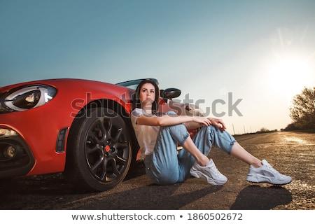 Feliz Pareja rojo cabriolé hombre Foto stock © dashapetrenko