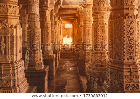 Stone carving in Ranakpur temple, Rajasthan Stock photo © dmitry_rukhlenko