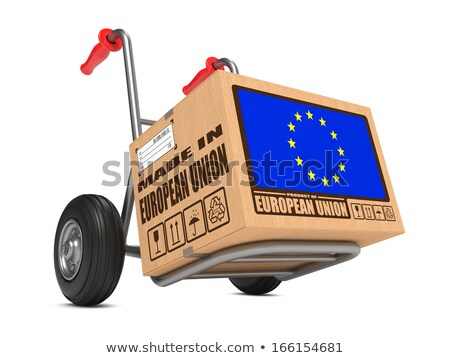 made in eu   cardboard box on hand truck stock photo © tashatuvango