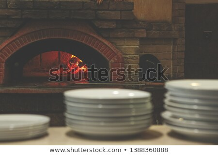 Fireplace of white ceramic Stock photo © smuki