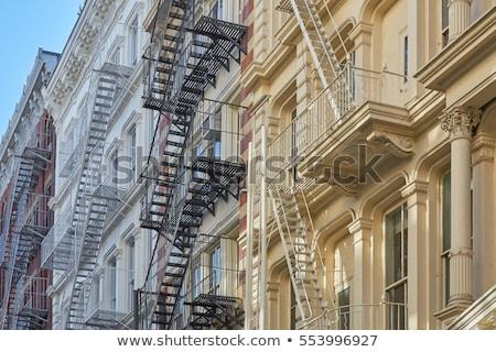 brand · ladder · oude · huizen · centrum · New · York - stockfoto © meinzahn