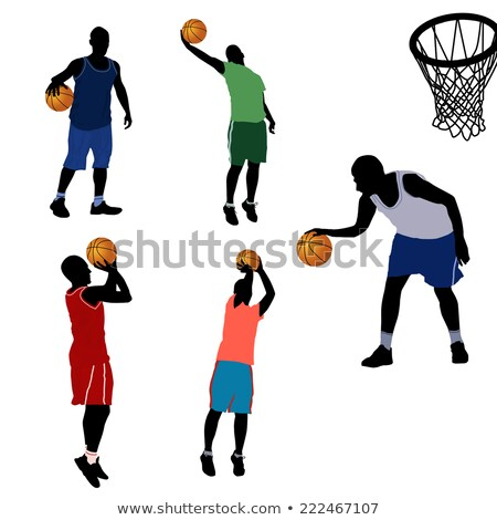 basketball players silhouette collection in shoot position stock photo © istanbul2009