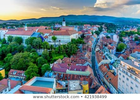 Panorámica vista Zagreb ciudad cielo árbol Foto stock © smuki