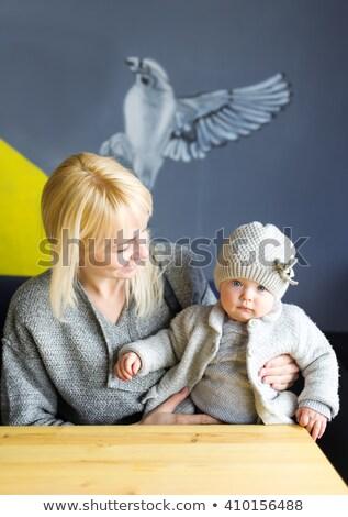 Család kislány kávézó kint nő lány Stock fotó © dashapetrenko