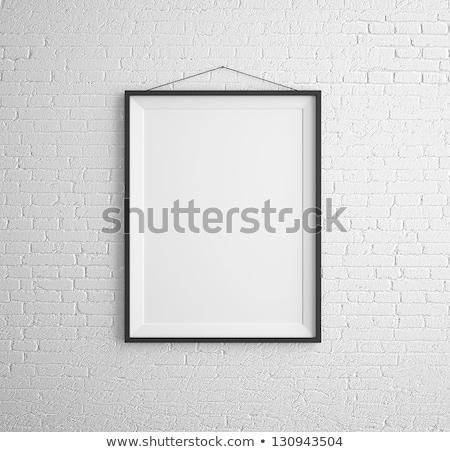 egy · fekete · keret · fehér · téglafal · fal - stock fotó © frameangel