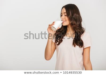 mutlu · hamile · kadın · içme · süt · ev · gebelik - stok fotoğraf © witthaya