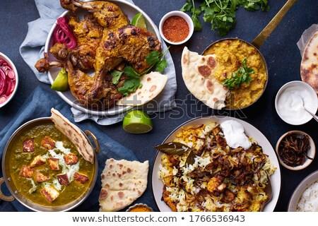 indiai · étel · rizs · curry · étterem · asztal - stock fotó © neillangan