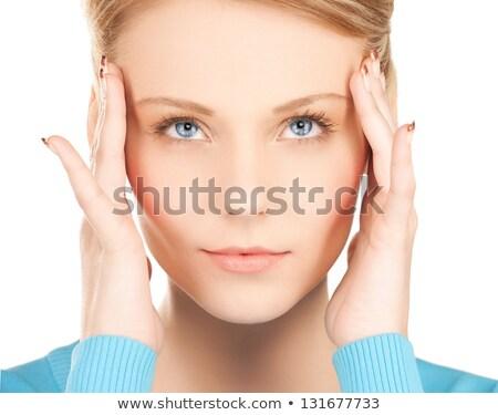 Désespérée femme mains tenant oreilles regarder étage Photo stock © dash