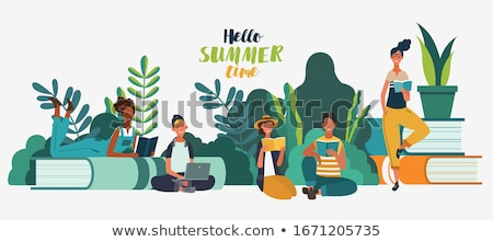 relax time for reading with eyeglass stock photo © nalinratphi