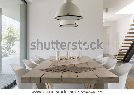 glas · eettafel · stoelen · drie · metaal · voedsel - stockfoto © karammiri